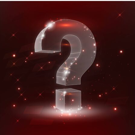 Question mark. Low poly wireframe mesh looks like constellation on dark red background with dots and stars. Crumbled edge. Ask, help and problem symbol, illustration or background Illustration