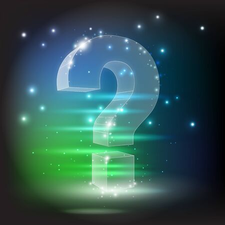Question mark 3d. constellation on dark background with dots and stars. Crumbled edge. Ask, help and problem symbol, illustration or background