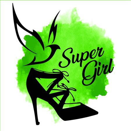women shoe silhouettes with Flying bird on watercolor bright green background. Symbol of spring and fashion.