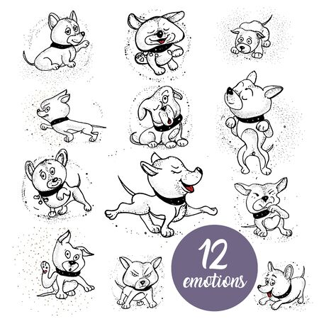 12 emotions of dog. doodle illustration of a little puppy Illustration