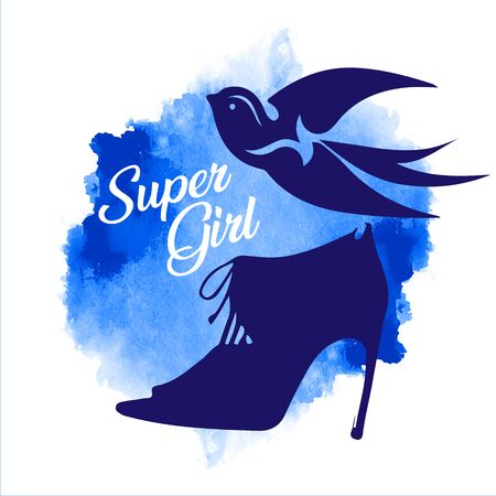 Print for womens clothing. Silhouette of a stylish boot and a swallow symbol of a super girls easy walk. female shoes. Vector