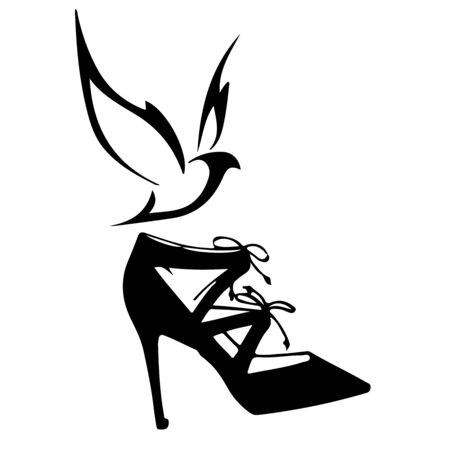 Womens shoes with bird. Hand drawn. Vector