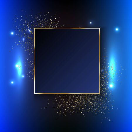 Vector golden frame. Shining rectangle banner. Vector illustration, eps 10. Celebration background template with gold confetti designs can be used for background banner templates and so on.