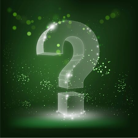 illustration of question mark on abstract green background. Crumbled edge. Ask, help and problem symbol, illustration or background. Futuristic vector illustration.