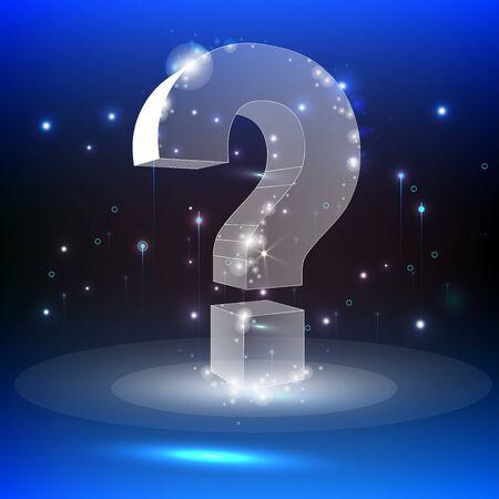 3D question mark, vector background. Ask, help and problem symbol, illustration or background. Futuristic vector illustration. Ilustração