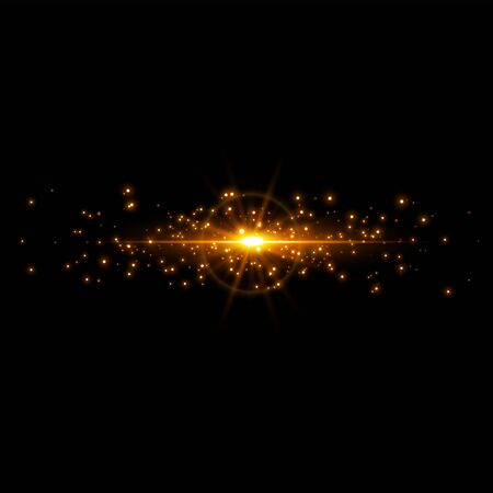 Magic golden stars light effect. Luminescent meteors with bright bokeh and sparkles. Vector illustration. Abstract Holiday Light Rays Design.