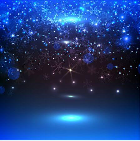 sfondo blu con fiocchi di neve, illustrazione vettoriale. Sfondo di Natale con luce magica