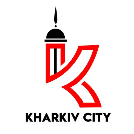 kharkov city text design with red heart typographic icon  イラスト・ベクター素材
