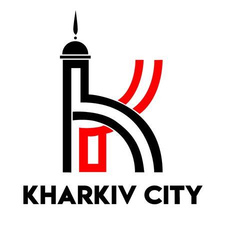 Logo. Stylized cultural monument Mirror Stream. Business card Kharkiv Ukraine. I love Kharkov. Reklamní fotografie - 140641345