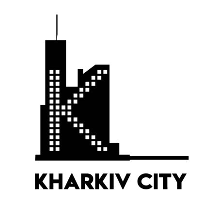 logo with linear fields. logo for Kharkov city. Concept of silhouette of the building of the Derzhprom. Emphasis on the letter K.