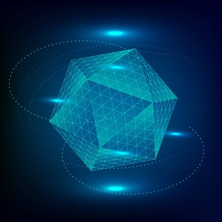 Icosahedron Platonic solid. Sacred geometry 3d illustration