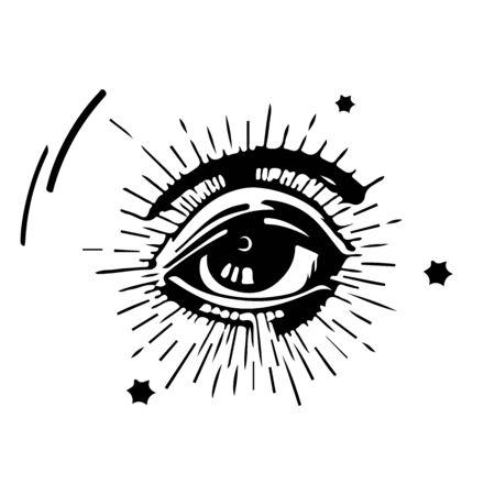 Illustration vectorielle dessinés à la main - Symbole de la pyramide de tous les yeux. Franc-maçon et spirituel. Ancien