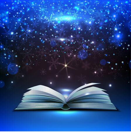 Open book on a blue background. Illustration can be used for business banner. Ilustracje wektorowe