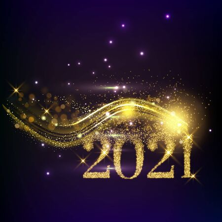 2021 Happy New year vector illustration - aurora borealis Northern lights in the sky - black, green, purple, blue colors