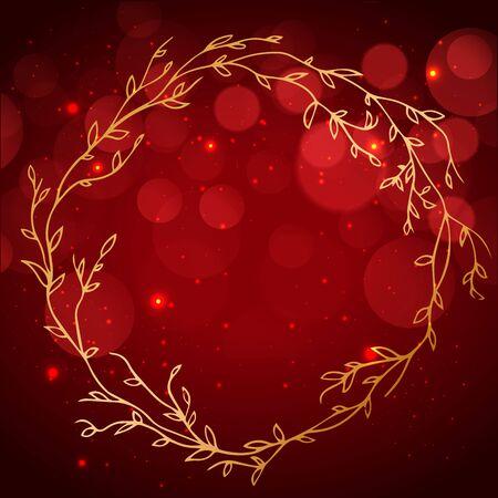 Round golden frame of flowers on a red velvet background. luxury designs. Vector eps10 illustration.