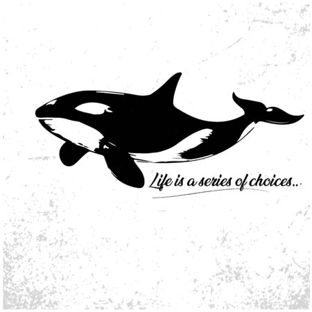 Killer whale illustration in grunge background. Monochrome abstract vector grunge texture. Illustration
