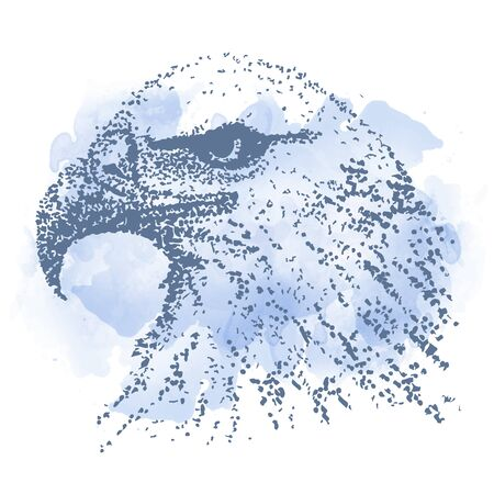 stylized Eagle with watercolor drop. Hand Drawn doodle vector illustration. Sketch for tattoo, postcard, t-shirt, fabric bag, poster. Animal collection.