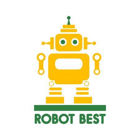 Funny vector robot in flat style isolated on white background. Space Propaganda.