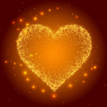 Love Explosion. Vector illustration. Starry heart as a constellation