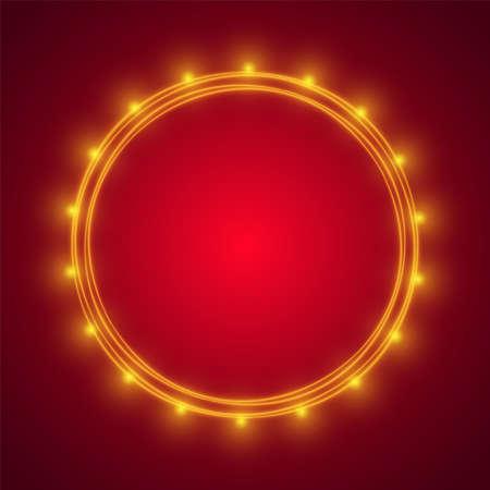 Traditional design elements. Light bulbs on red background. Web design, poster, banner print decoration element.  イラスト・ベクター素材