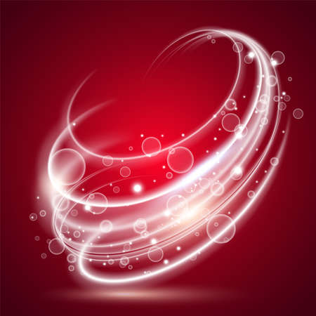 Abstract background of falling stars and red light rays