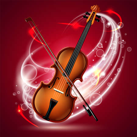 Classical violin on a red velvet curtain background