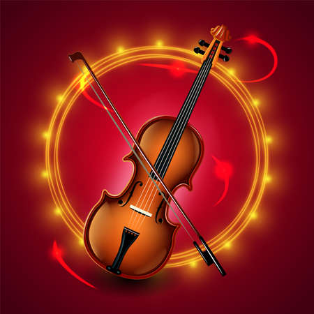 Violin. Vector isolated on white. Background for presentations.