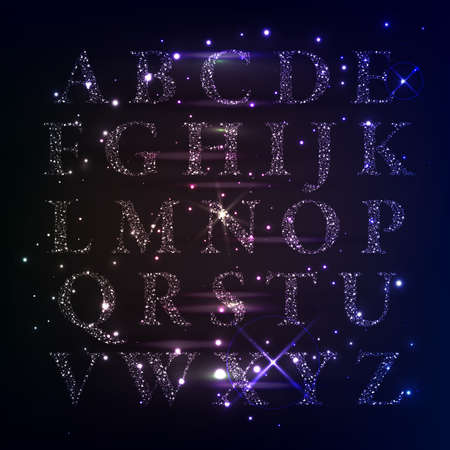 Sparkling alphabet made of shining stars , letters from a to z, vector illustration. Web design, poster, banner print decoration element.
