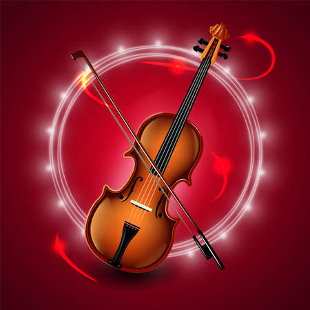 Set of classical musical violins instruments in silhouette style, such as emblem.  イラスト・ベクター素材