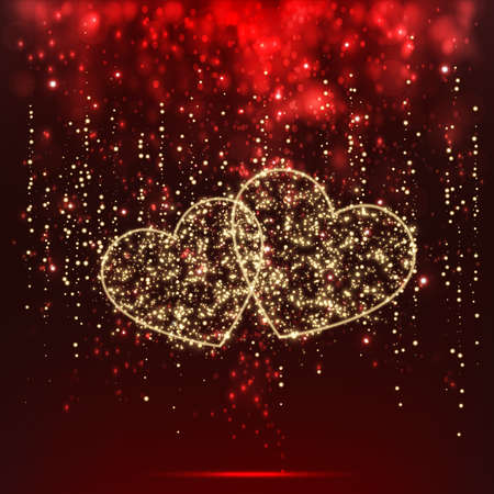 illustration of pair of heart made of sparkling star