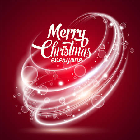 Abstract background. Vector realistic style. Lettering Series: Merry Christmas.