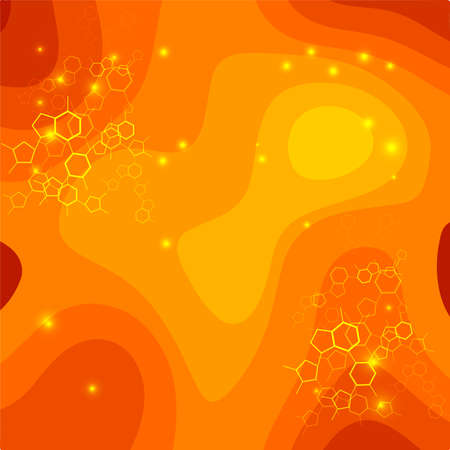 Orange and yellow bokeh abstract light background - Vector illustration. Web design, poster, banner print decoration element.  イラスト・ベクター素材