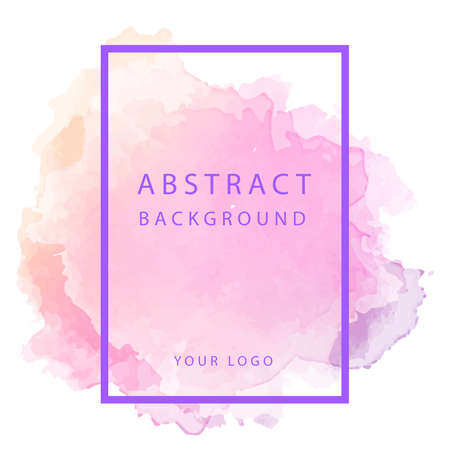 Abstract pink watercolor blot on white background, vector illustration. Web design, poster, banner print decoration element.  イラスト・ベクター素材