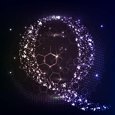 Letter Q Bubbles Vector. Web design, poster, banner print decoration element.  イラスト・ベクター素材