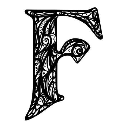 Vector Hand Drawn floral F monogram or logo. Letter F with Flowers and Branches. Floral Design. Design Vector.