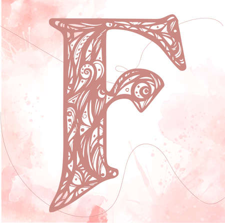 naive Vintage initials letter F. alphabet, hand drawn letter F. Pink color initials litter on a watercolor background.