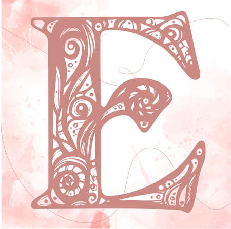 Vintage initials letter e. Design Vector. Alphabet, Calligraphy, Typography, Monogram. Pink color initials litter on a watercolor background. letter E