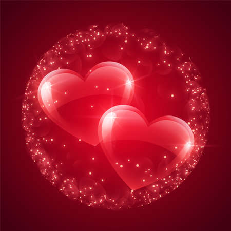 Valentines day message, floating hearts red background. File contains graphic styles available in the Illustrator 10. Foto de archivo