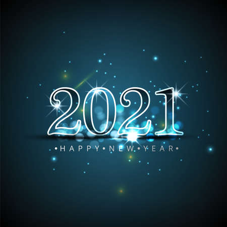 Happy New Year elegant design - vector illustration of 2021 logo numbers on black background - perfect typography for 2021 save the date luxury designs and new year celebration invite