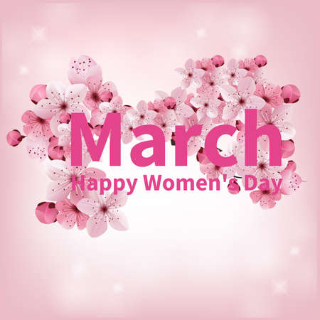 Abstract Pink Floral Greeting card - International Happy Womens Day - 8 March holiday background with paper cut Frame Flowers. Happy Mothers Day. Trendy Design Template. Vector illustration.