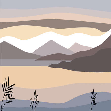 Nature vector background, landscape with mountains and sun. Panorama of mountains, wilderness, sands, valley on sunset or sunrise. landscape vector