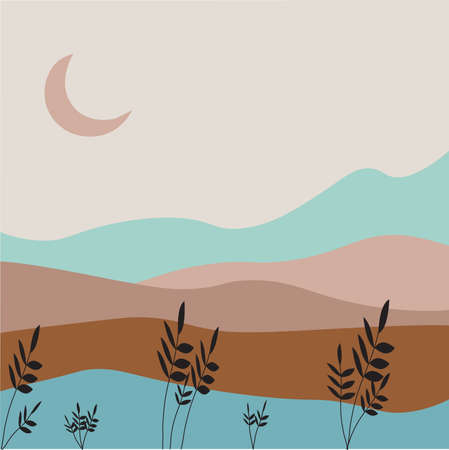 landscape vector. Nature vector background, landscape with mountains and moon. Panorama of mountains, wilderness, sands, valley on sunset or sunrise.