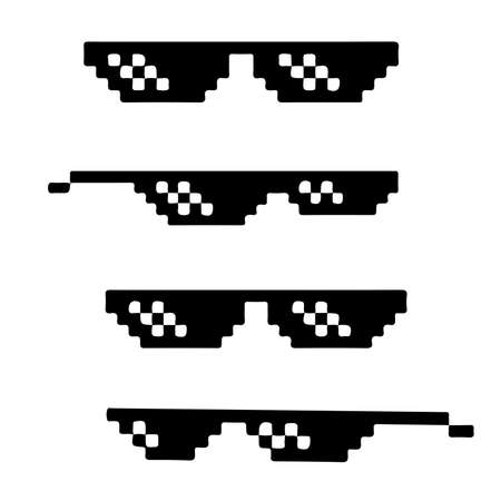 Pixel art black sunglasses isolated on white background. pixel art printed