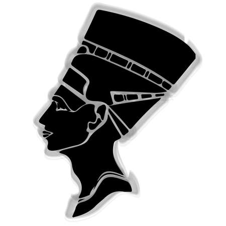 silhouette of the ancient Egyptian queen Nefertiti on a white background. Hand Vector Illustration