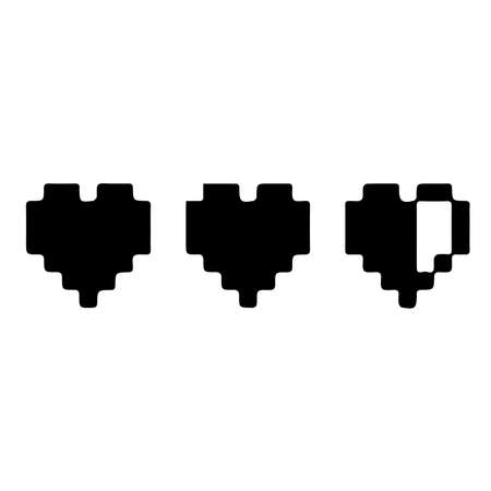 Pixel art heart . vector black heart. games lives or handicap. pixel art style icons