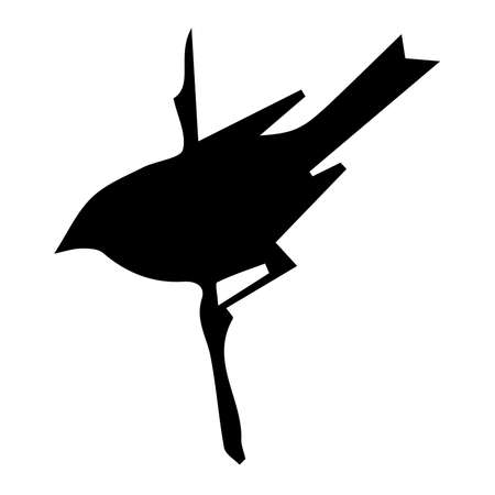bird silhouette on white background, vector illustration. Hand Vector Illustration
