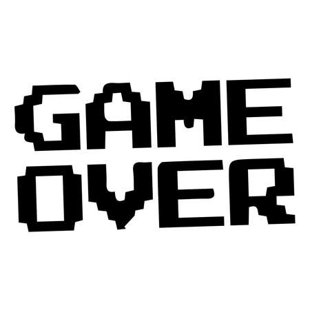 8-bit Pixel Game Over Message. pixel art style icons, element design for   app, web, sticker. Video game sprite. Isolated vector illustration.