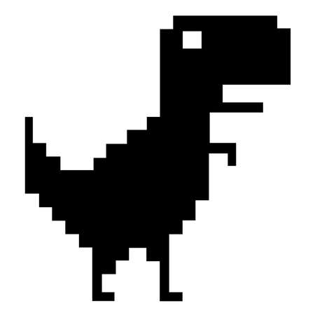 a black dinosaur icon. pixel art style icons, element design for app, web, sticker. Video game sprite. Isolated vector illustration.