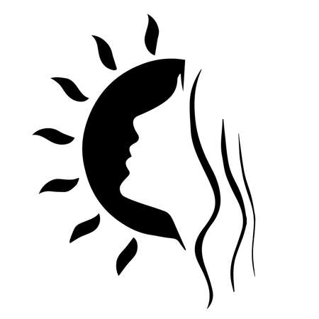 Silhouette of elegant lady . Female figure. Outline of young girl. Linear Art. Black and white vector illustration. isolated on white background