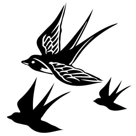 flying swallow bird vector illustration - black and white outline and silhouette isolated on white background